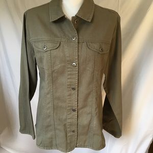 Chico's jacket size 2 12 womens green shirt style